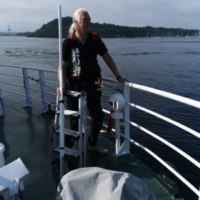 Vidar på båten til Hovedøya